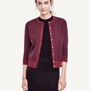 Ann Taylor Wine Navy Dots Ponte Cardigan Sweater